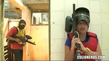 CULIONEROS - Sexy Latina With Huge Butt And Boobs Playing Paintball